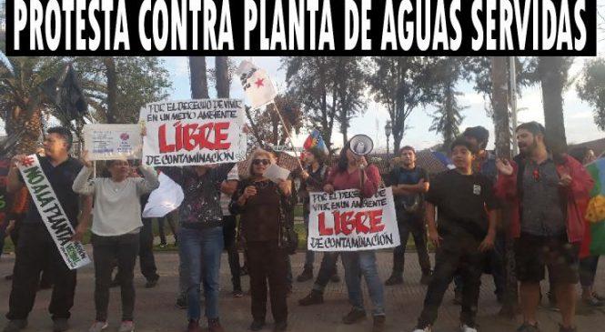 Protesta en contra la planta de aguas servidas
