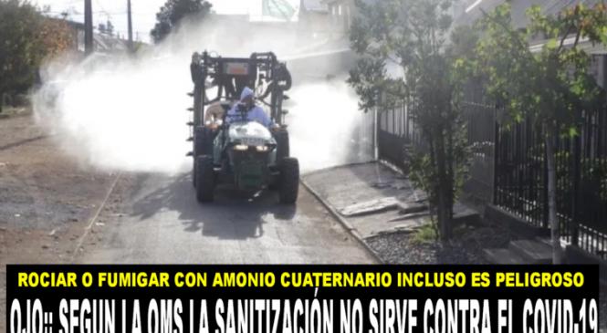La sanitización de calles podría ser mas peligrosa que beneficiosa